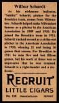 1912 T207 Reprints #156   Wilbur Schardt Back Thumbnail