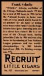 1912 T207 Reprints #157   Wildfire Schulte  Back Thumbnail