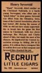 1912 T207 Reprints #159  Henry Severeid  Back Thumbnail