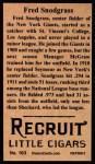 1912 T207 Reprints #163   Fred Snodgrass Back Thumbnail