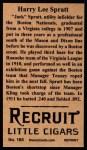 1912 T207 Reprints #165  Harry Lee Spratt  Back Thumbnail