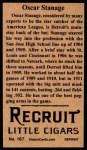 1912 T207 Reprints #167  Oscar Stanage  Back Thumbnail