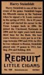 1912 T207 Reprints #169   Harry Steinfeldt Back Thumbnail