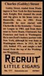 1912 T207 Reprints #171   Charles (Gabby) Street Back Thumbnail