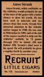 1912 T207 Reprints #172   Amos Strunk Back Thumbnail