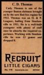 1912 T207 Reprints #176  C. D.  Thomas  Back Thumbnail
