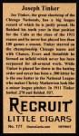 1912 T207 Reprints #177   Joseph Tinker Back Thumbnail