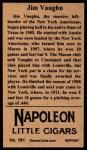 1912 T207 Reprints #181  Hippo Vaughn  Back Thumbnail