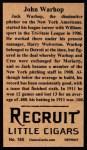 1912 T207 Reprints #185  John Warhop  Back Thumbnail