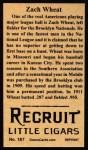 1912 T207 Reprints #187   Zach Wheat Back Thumbnail