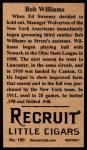 1912 T207 Reprints #190   Bob Williams Back Thumbnail