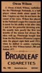 1912 T207 Reprints #192  Owen Wilson  Back Thumbnail