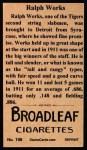 1912 T207 Reprints #198   Ralph Works Back Thumbnail