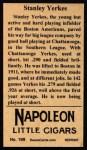 1912 T207 Reprints #199   Stanley Yerkes Back Thumbnail