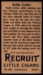 1912 T207 Reprints #200   Rollie Zeider Back Thumbnail