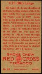 1912 T207 Reprints #95   F.H. 'Bill' Lange   Back Thumbnail