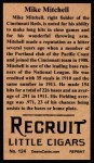 1912 T207 Reprints #124  Willie Mitchell  Back Thumbnail