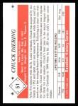 1979 TCMA The 50's #51  Chuck Diering  Back Thumbnail