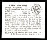 1950 Bowman Reprints #169  Hank Edwards  Back Thumbnail