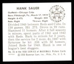 1950 Bowman Reprints #25   Hank Sauer Back Thumbnail