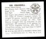 1950 Bowman Reprints #56  Del Crandall  Back Thumbnail