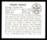 1950 Bowman Reprints #229  Frankie Frisch   Back Thumbnail