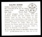 1950 Bowman Reprints #33  Ralph Kiner  Back Thumbnail