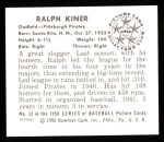 1950 Bowman Reprints #33   Ralph Kiner Back Thumbnail