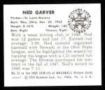 1950 Bowman Reprints #51  Ned Garver  Back Thumbnail