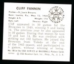 1950 Bowman Reprints #106  Cliff Fannin  Back Thumbnail