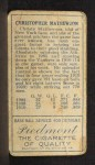 1911 T205 #124  Christy Mathewson  Back Thumbnail