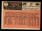 1966 Topps #155  Marcelino Lopez  Back Thumbnail