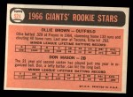 1966 Topps #524   -  Don Mason / Ollie Brown Giants Rookies Back Thumbnail