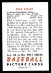 1951 Bowman Reprints #52  Dick Sisler  Back Thumbnail