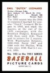 1951 Bowman Reprints #102  Dutch Leonard  Back Thumbnail
