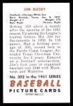 1951 Bowman Reprints #302   Jim Busby Back Thumbnail