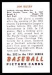 1951 Bowman Reprints #302  Jim Busby  Back Thumbnail
