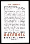 1951 Bowman Reprints #20  Del Crandall  Back Thumbnail