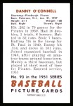 1951 Bowman Reprints #93  Danny O'Connell  Back Thumbnail