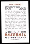 1951 Bowman Reprints #296  Bob Kennedy  Back Thumbnail