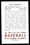 1951 Bowman Reprints #296   Bob Kennedy Back Thumbnail