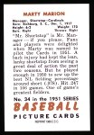 1951 Bowman Reprints #34  Marty Marion  Back Thumbnail