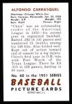 1951 Bowman Reprints #60   Chico Carrasquel Back Thumbnail