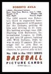 1951 Bowman Reprints #188   Bobby Avila Back Thumbnail