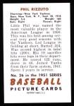 1951 Bowman Reprints #26  Phil Rizzuto  Back Thumbnail
