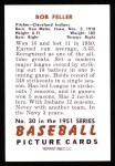 1951 Bowman Reprints #30  Bob Feller  Back Thumbnail