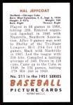 1951 Bowman Reprints #211  Hal Jeffcoat  Back Thumbnail