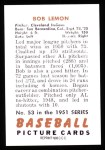1951 Bowman Reprints #53  Bob Lemon  Back Thumbnail