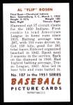 1951 Bowman Reprints #187   Al Rosen Back Thumbnail