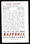 1951 Bowman Reprints #59  Randy Gumpert  Back Thumbnail